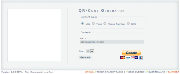 qr code generator box filled out